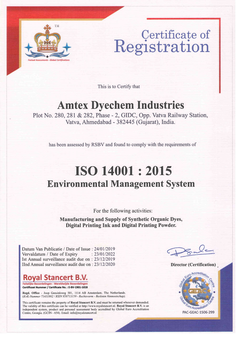 ISO 14001 : 2015 Environmental Management System