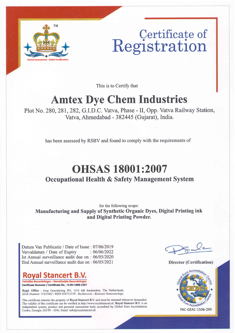 OHSAS 18001 : 2007 Occupational Health & Safety Management System