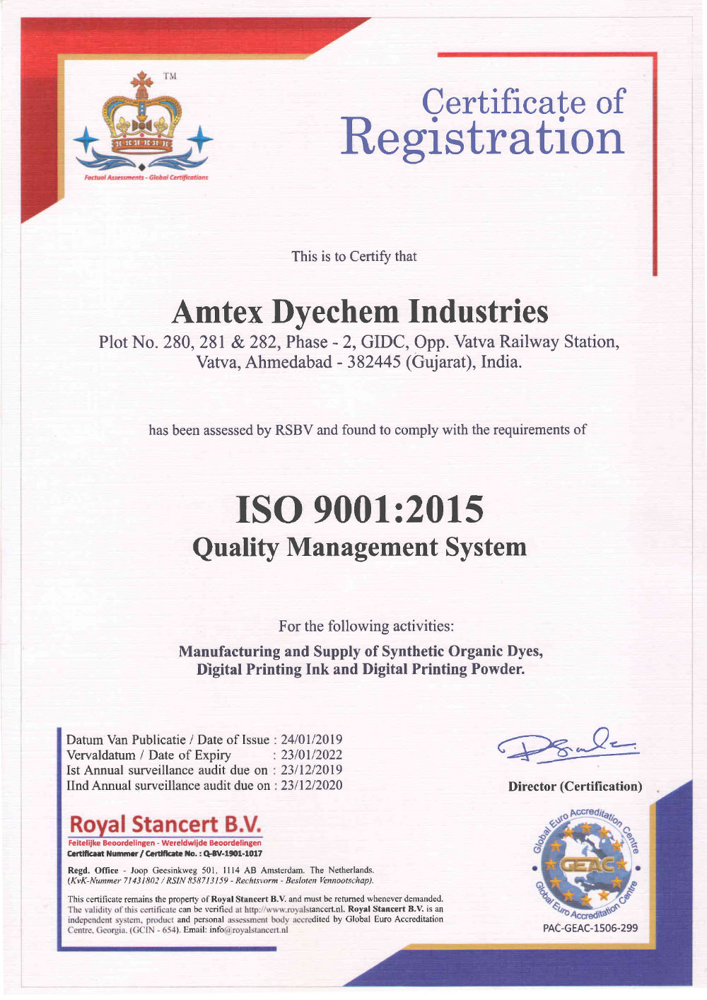 ISO 9001 : 2015 Quality Management System